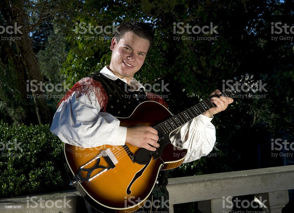 Young Musician in Traditional Slovenian Outfit stock photo