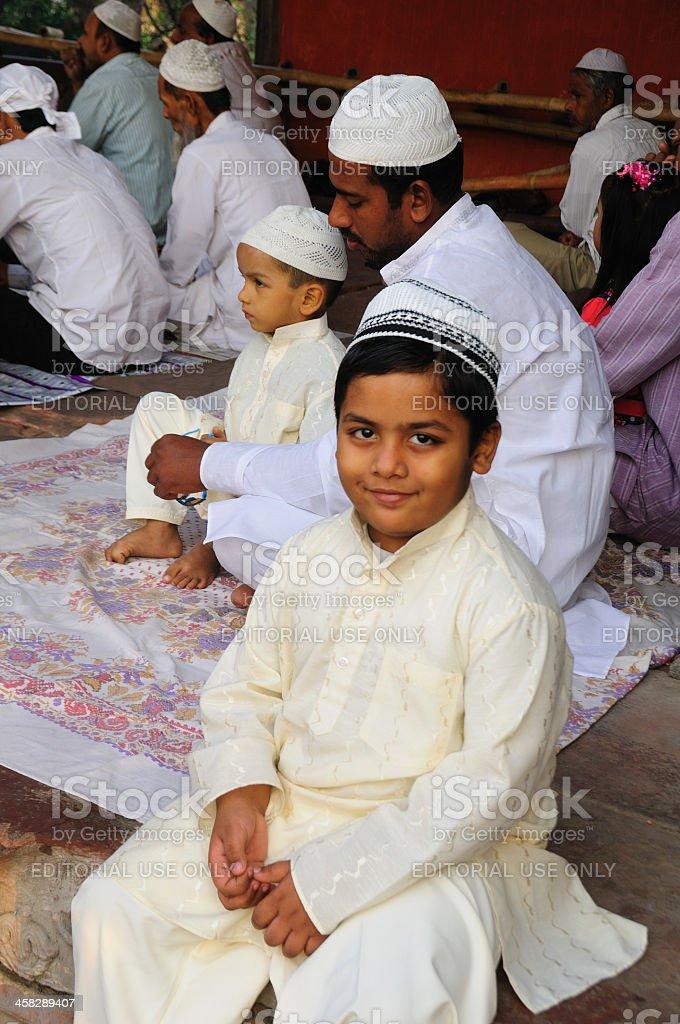 Young Muslim boy at Jama Masjid stock photo