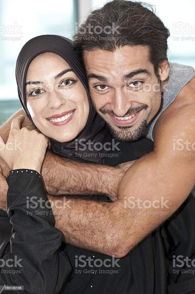 Young muslim couple stock photo