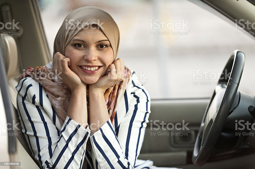 Young muslim female driver royalty-free stock photo