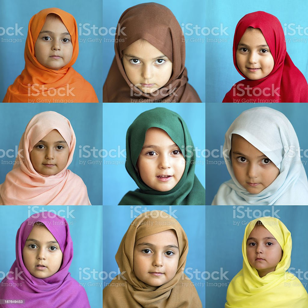 Young muslim girl wearing different colored scarfs. XXL royalty-free stock photo