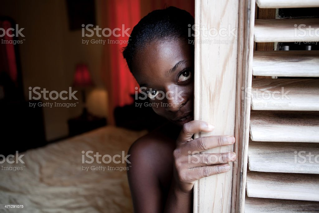 Young naked black woman stock photo