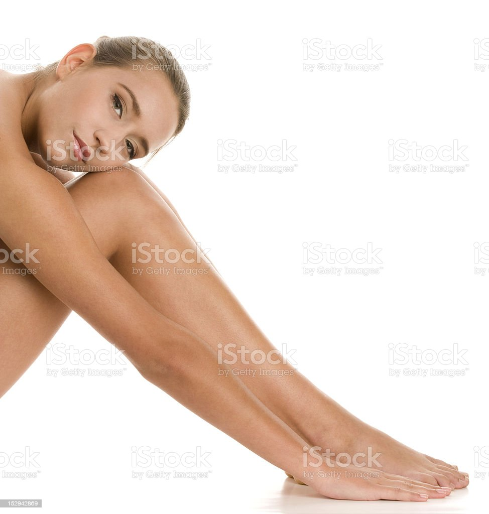 Young naked woman sitting royalty-free stock photo