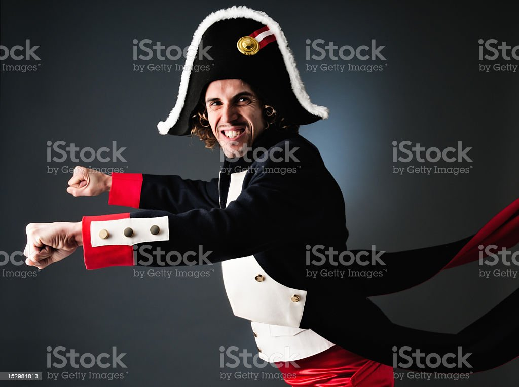Young Napoleon Bonaparte as a biker royalty-free stock photo