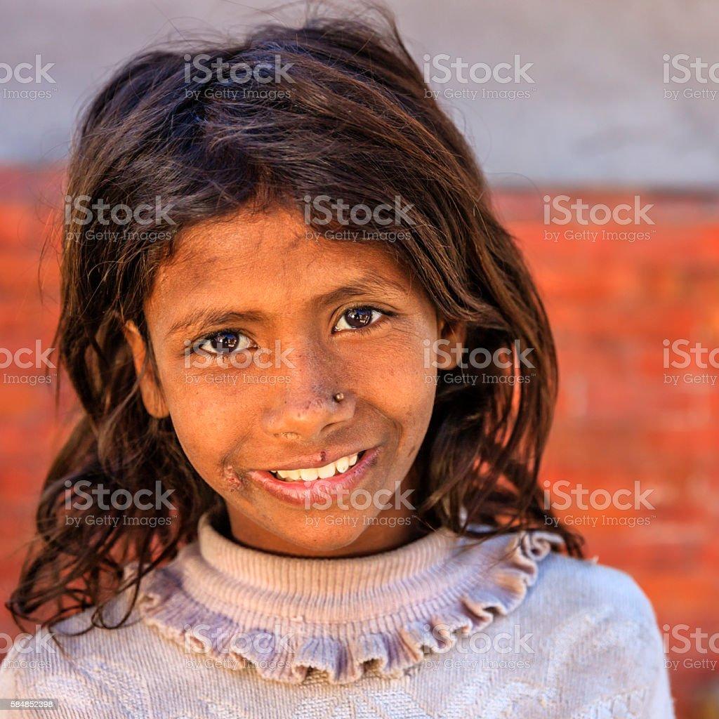 Young Nepali girl in Bhaktapur, Nepal stock photo