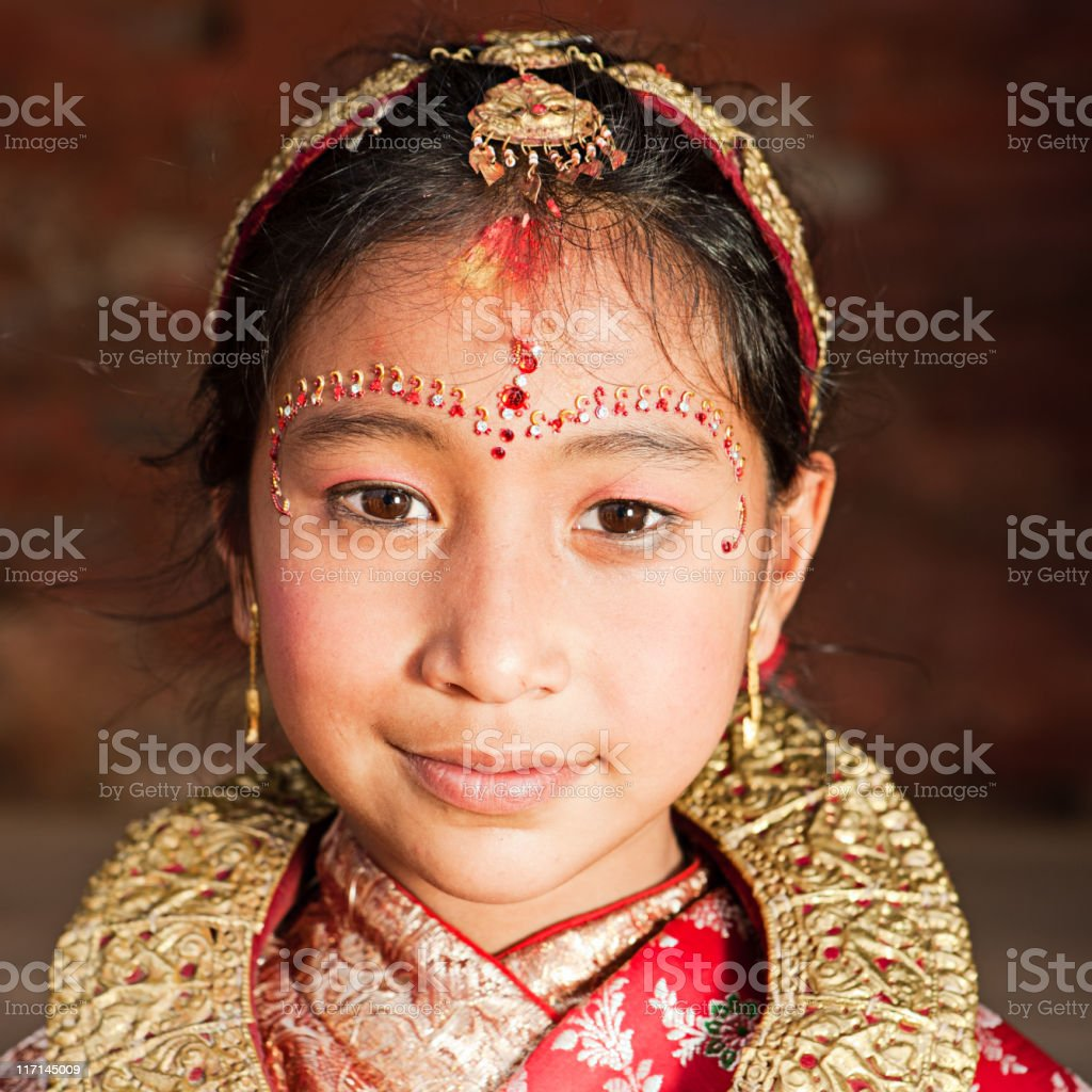 Young Nepali girl in traditional dress, Bhaktapur royalty-free stock photo