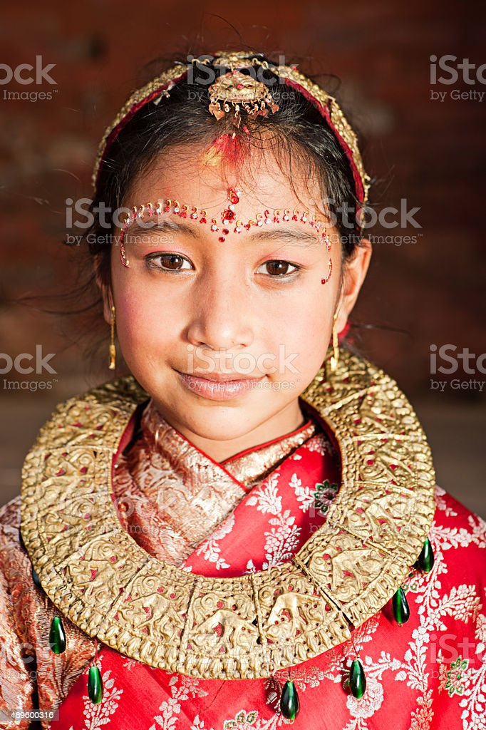 Young Nepali girl in traditional dress, Bhaktapur stock photo