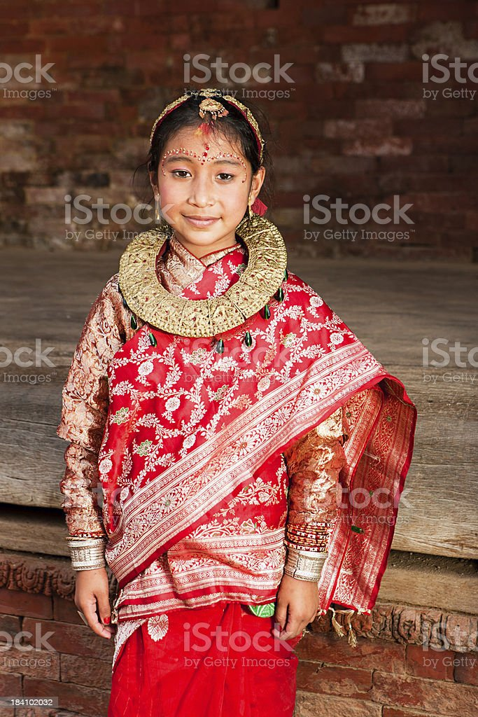 Young Nepali girl in traditional dress stock photo