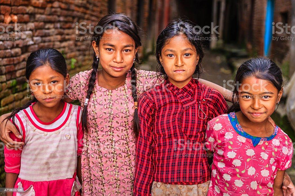 Young Nepali girls in Bhaktapur stock photo