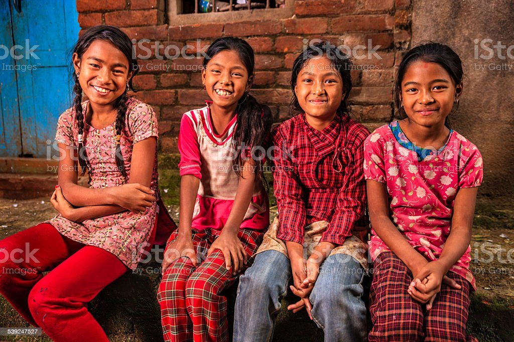 Young Nepali girls in Bhaktapur stock photo