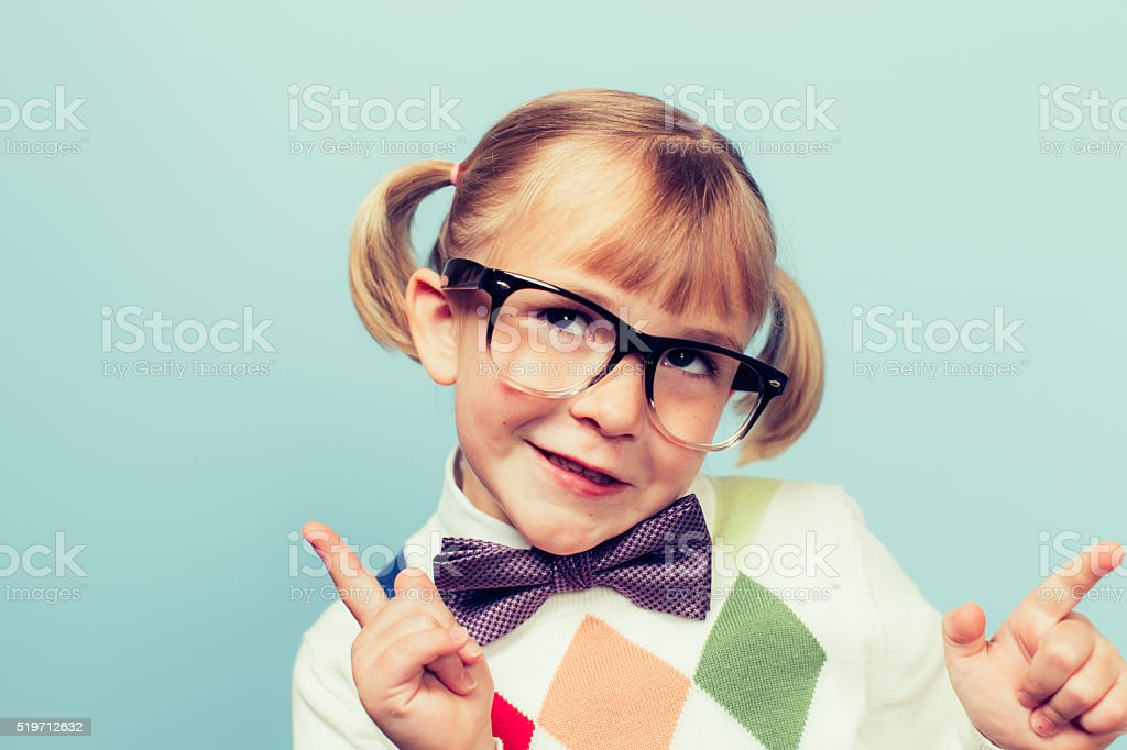 Young Nerd Girl with Silly Expression stock photo