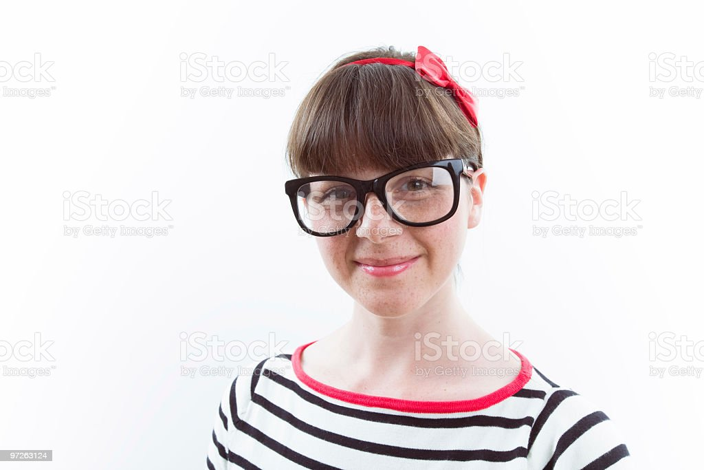 Young nerdy lady posing stock photo