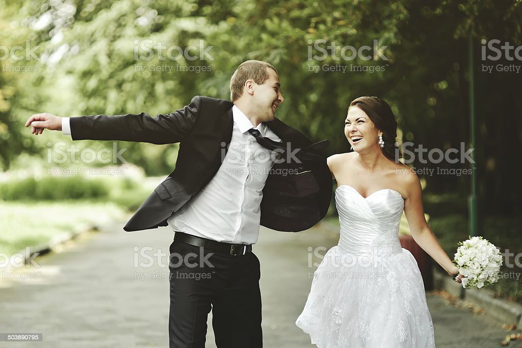 Young newlywed caucasian couple happy  together. stock photo