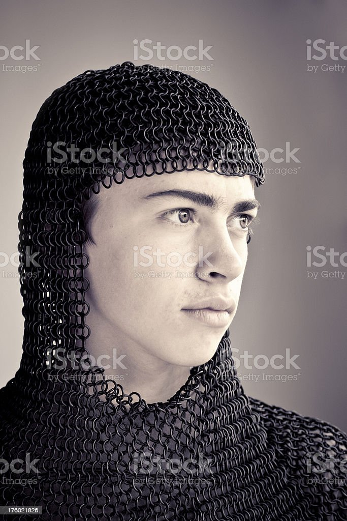 Young Norman Knight Chain Mail Armour stock photo