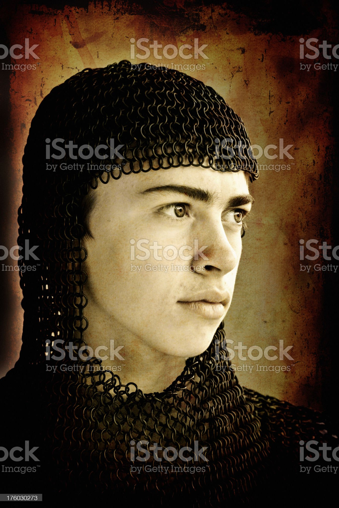 Young Norman Knight Chain Mail Armour royalty-free stock photo