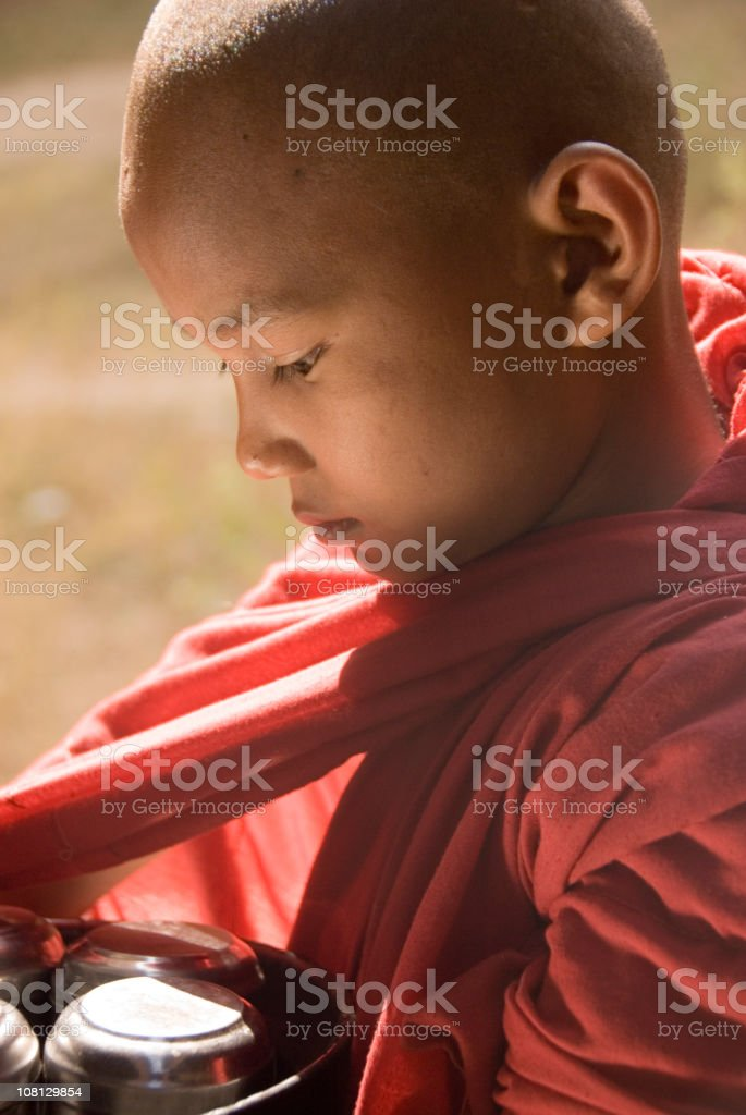 Young novice monk - close up royalty-free stock photo