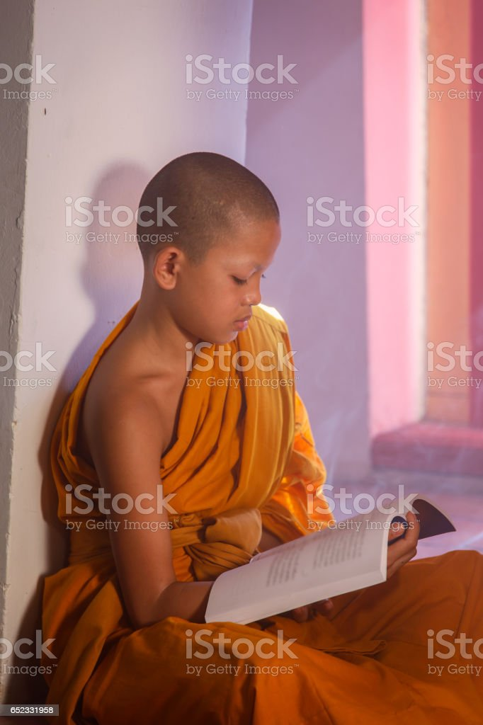 Young Novice monk reading a book at Ayutthaya historical park in Thailand stock photo