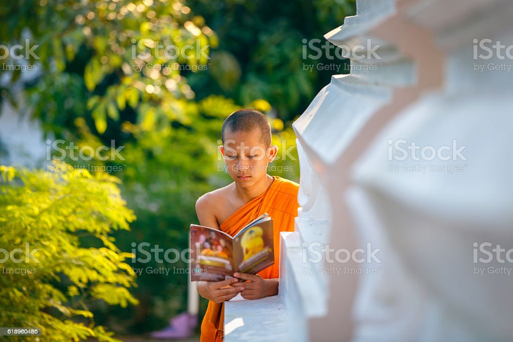 Young Novice monk reading a book stock photo
