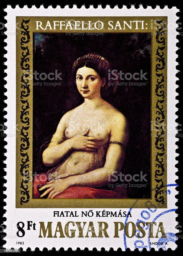 Young Nude Girl In Red . Raffaello Sanzio Canvas stock photo