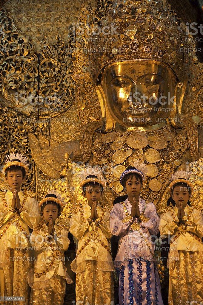 Young Nuns at the Mahamuni Pagoda, Mandalay, Myanmar royalty-free stock photo