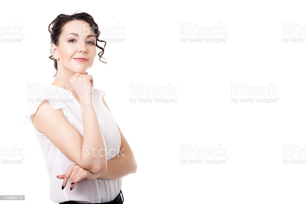 Young office woman business portrait on white background stock photo