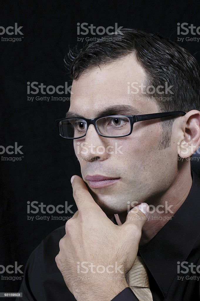 Young office worker thinking 1 royalty-free stock photo