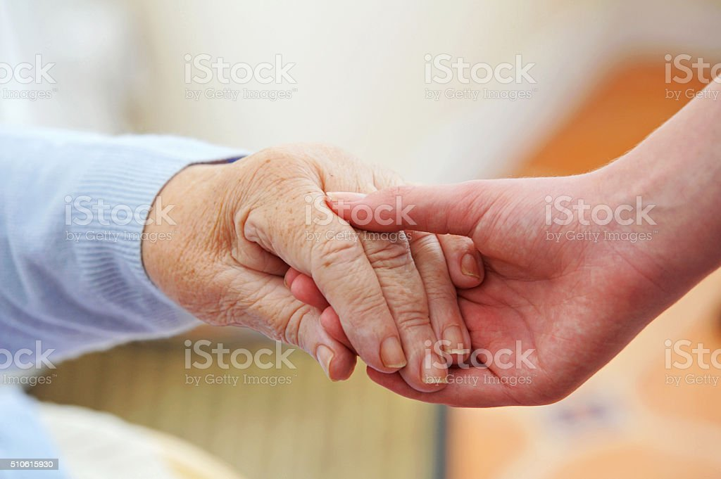 Young & Old Hands, Friendship stock photo