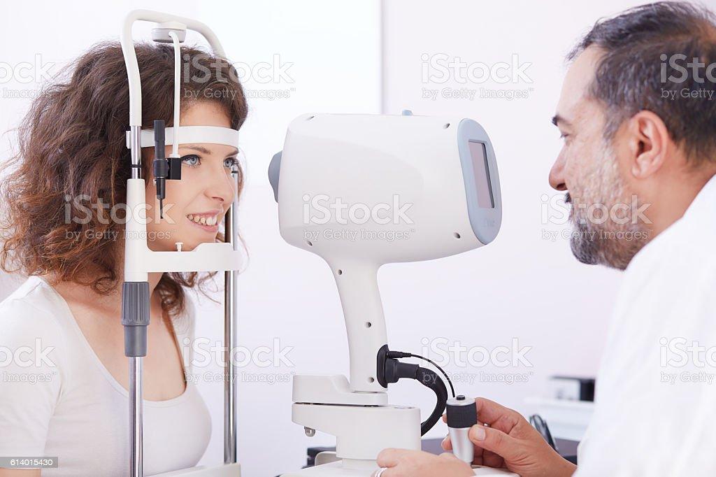young optometrist stock photo