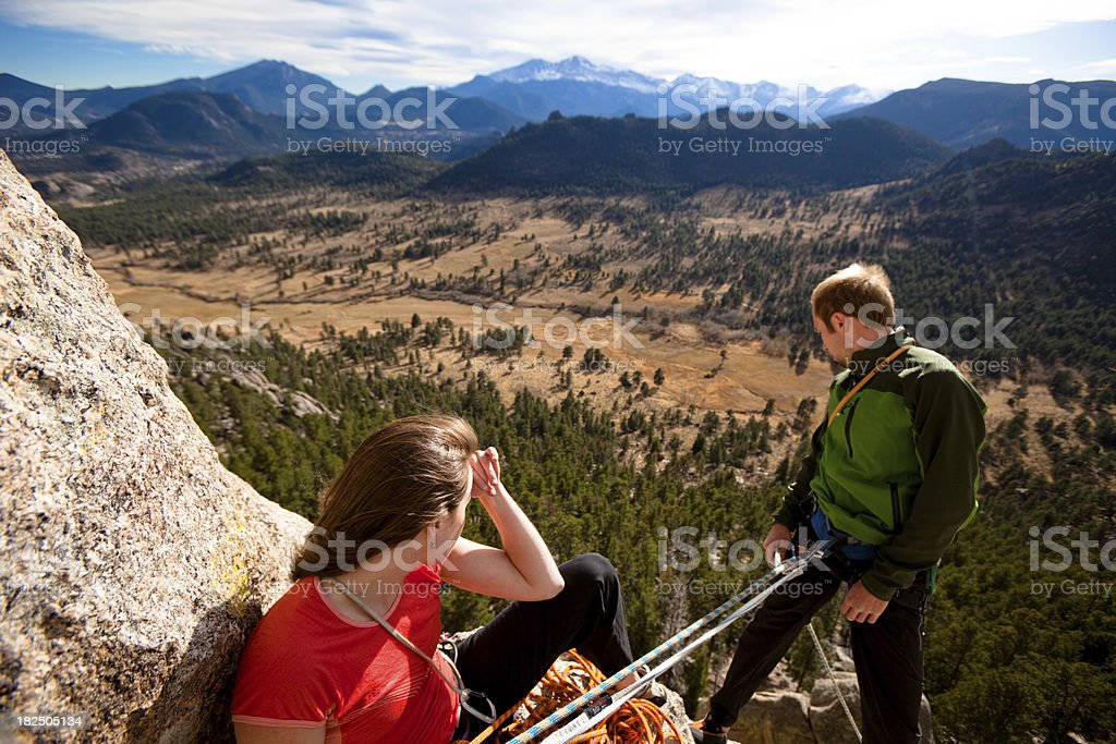 Young Outdoor Climbing Couple royalty-free stock photo
