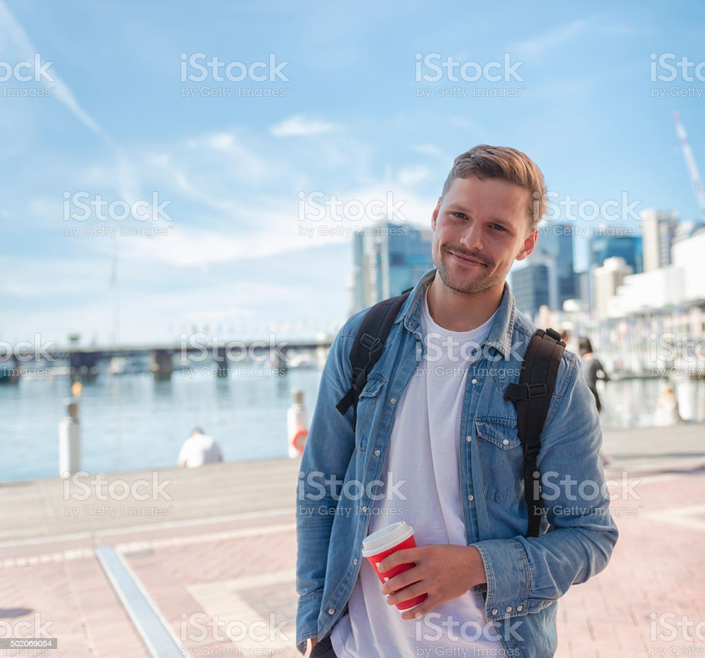 Young packpacker in Sydney stock photo