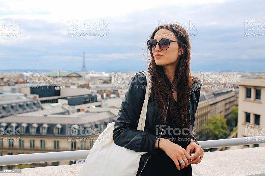 Young Parisian woman enjoying the view stock photo
