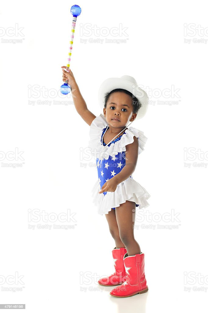 Young Patriot Reaching High stock photo