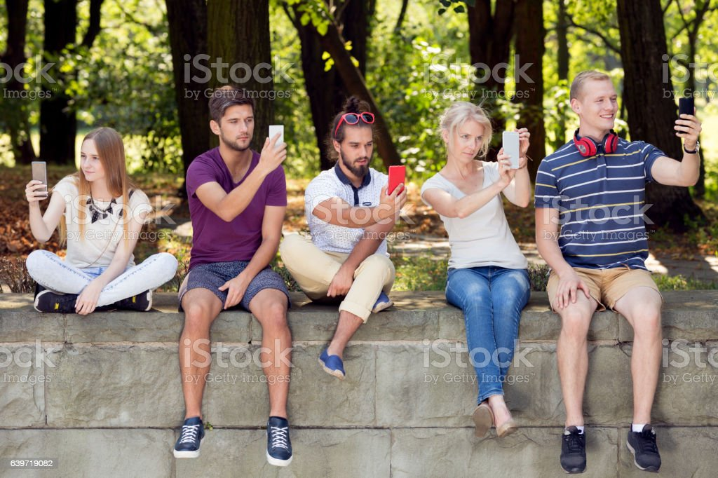 Young people and selfie stock photo