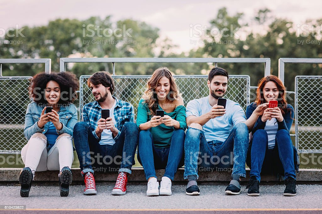 Young people and social media stock photo