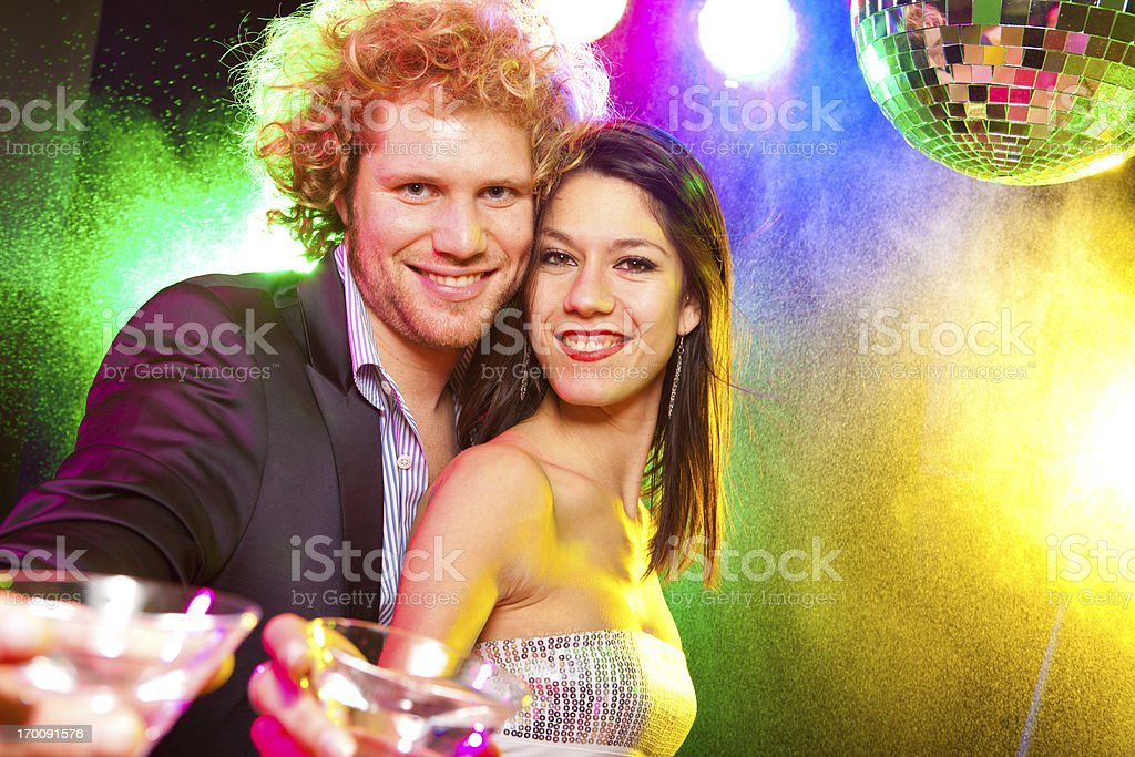 Young people are having fun in the disco stock photo