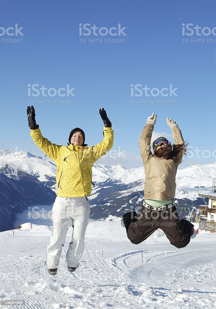 young people at ski resort royalty-free stock photo