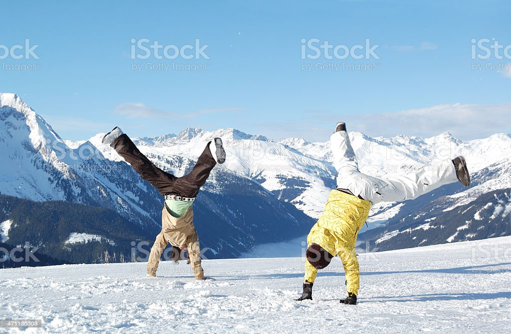 young people at ski resort stock photo