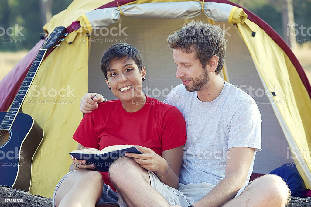 Young People Camping royalty-free stock photo