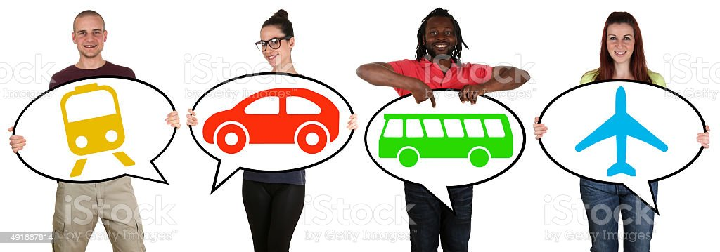 Young people choosing transport bus, train, car or plane stock photo