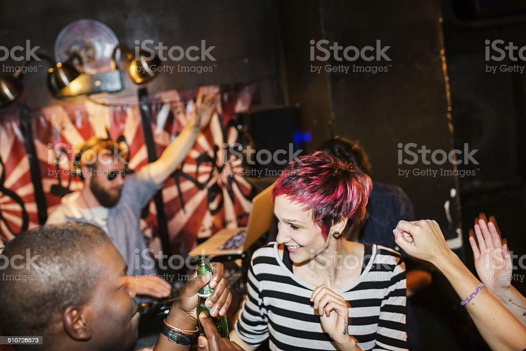 Young People Dancing At Party stock photo