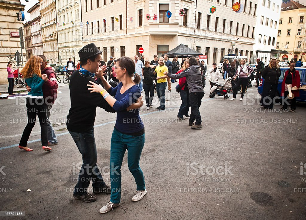 Young people dancing in the streets of Prague stock photo