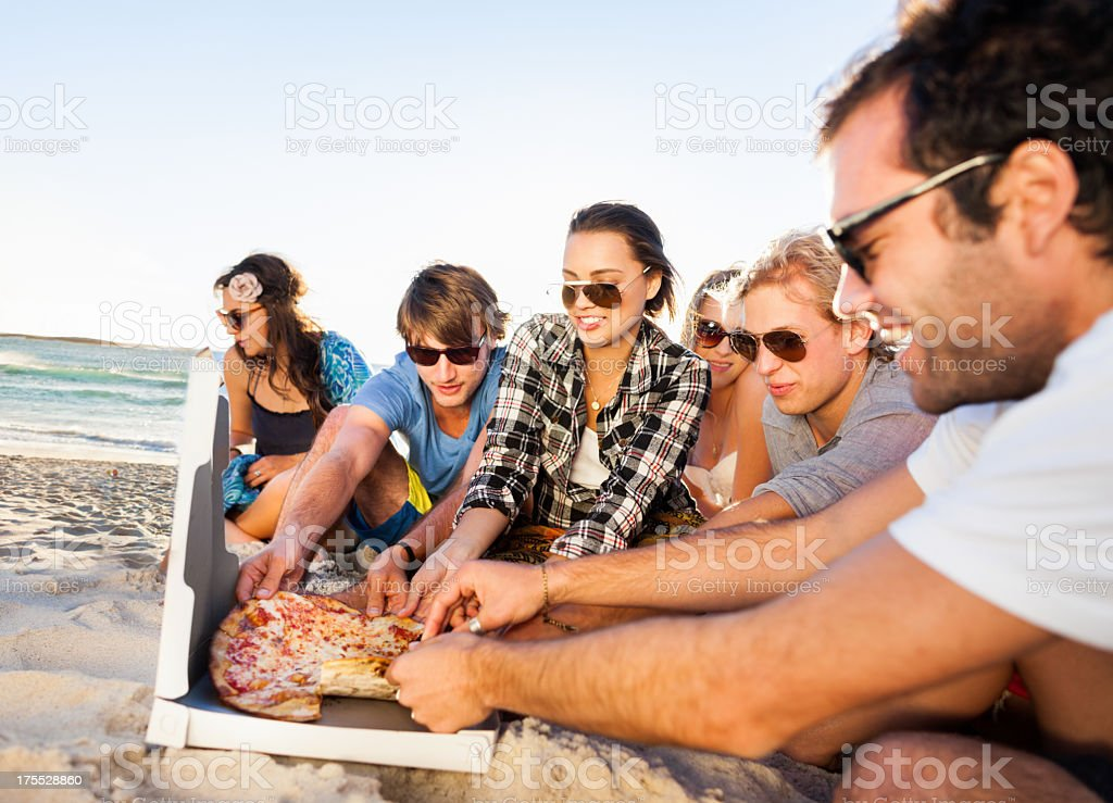 Young People Enjoying A Beach Party royalty-free stock photo