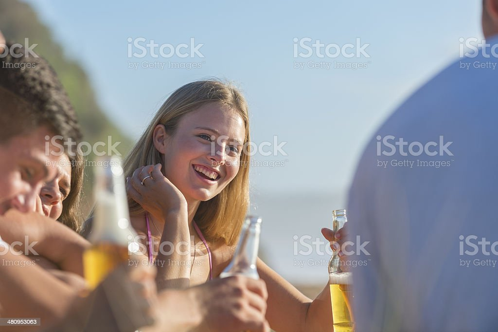 Young people enjoying a party and beer royalty-free stock photo