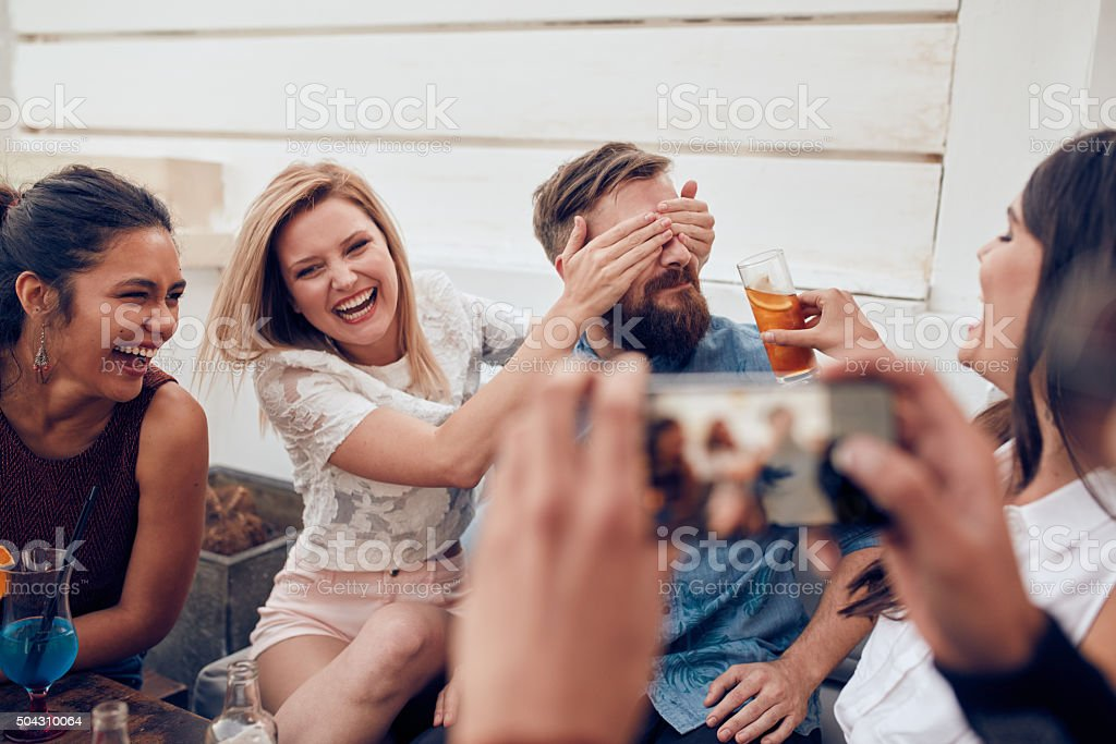 Young people enjoying a party stock photo
