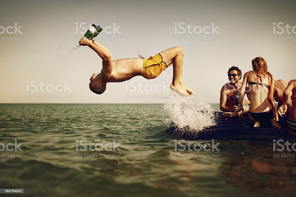 Young People Enjoying Beach Party stock photo