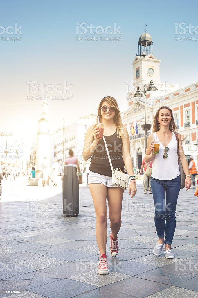 Young people enjoying Bubble Tea stock photo