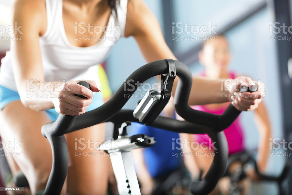 Young People Spinning in the gym royalty-free stock photo