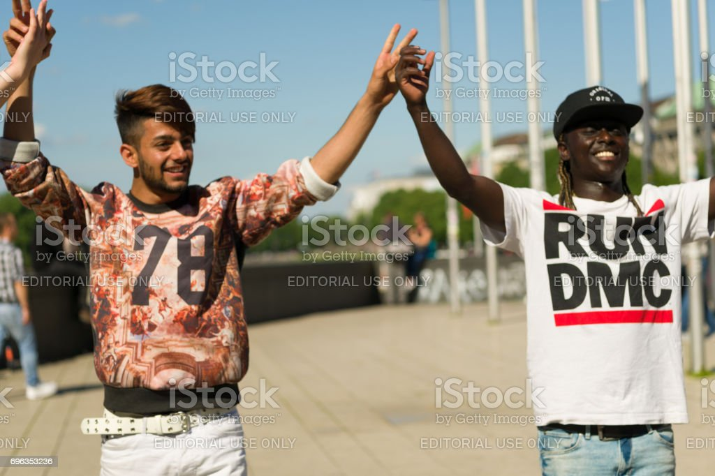 young people from different countries make breakdance / streetdance in Hamburg stock photo