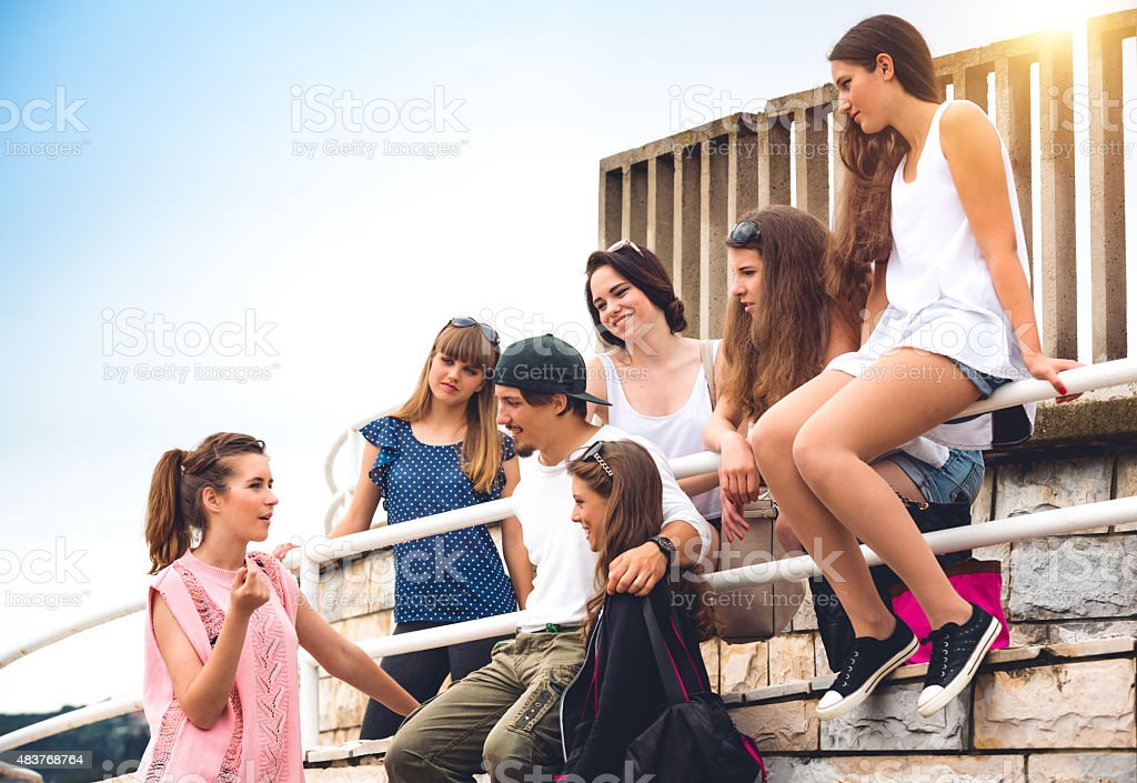 Young People Gathering After School stock photo