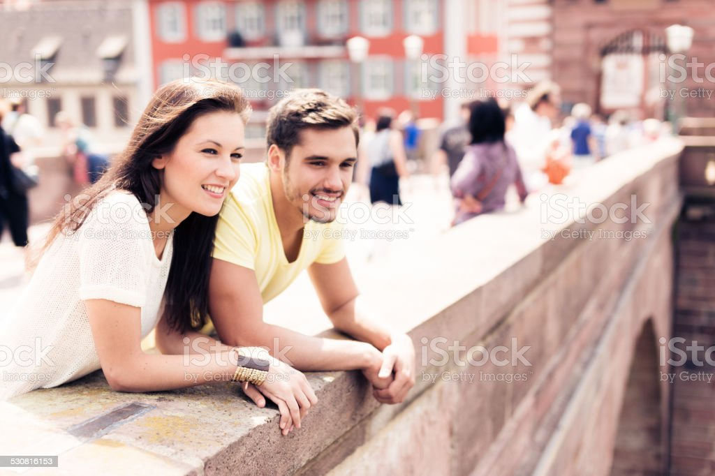 young people having a good day out in the city stock photo